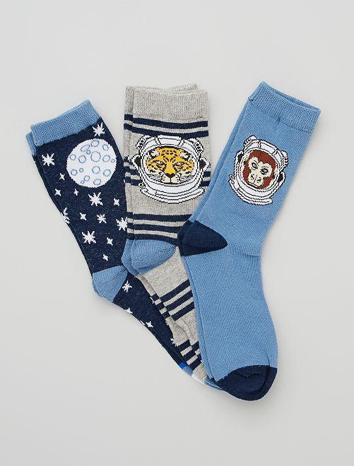 Set di 3 paia di calzini                                         grigio/blu