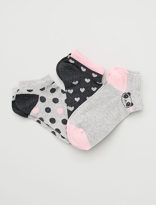 Set di 3 paia di calzini                             grigio/rosa