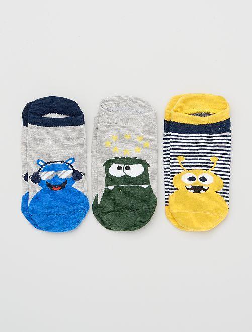 Set di 3 paia di calzini                                         grigio/verde