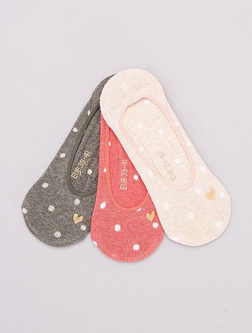 Set di 3 paia di calzini invisibili                     KAKI