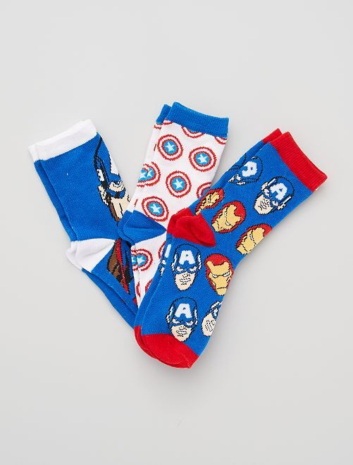 Set di 3 paia di calzini 'Marvel'                                         BIANCO