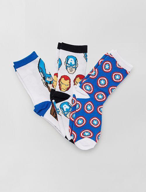 Set di 3 paia di calzini 'Marvel'                                         BLU