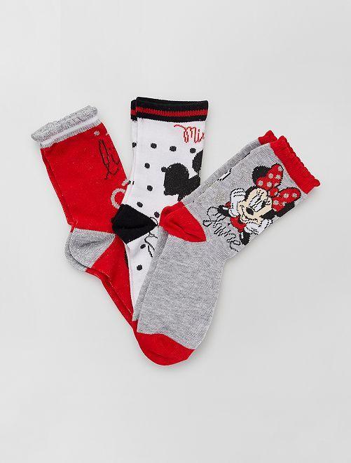 Set di 3 paia di calzini 'Minnie' 'Disney'                                         ROSSO