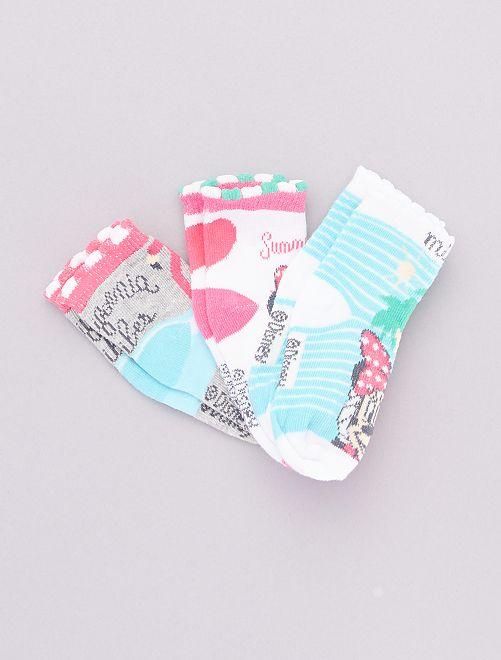 Set di 3 paia di calzini 'Minnie'                                         grigio