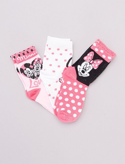 Set di 3 paia di calzini 'Minnie Mouse'                                         rosa/bianco