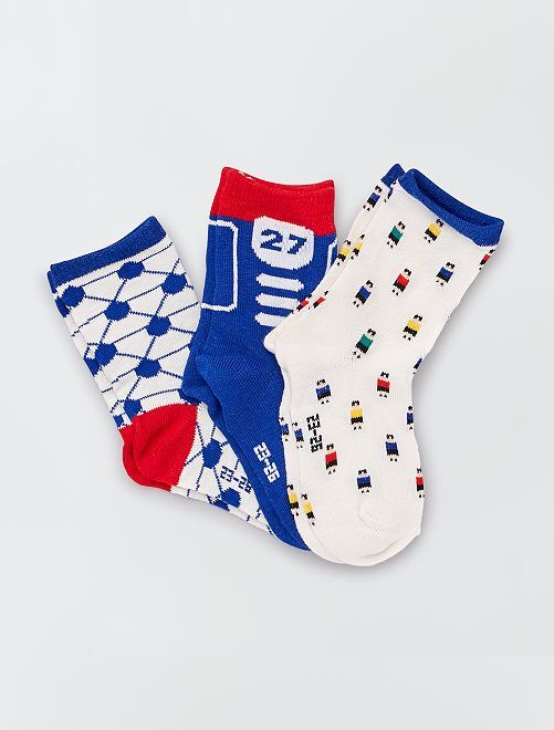 Set di 3 paia di calzini motivi 'calcio'                                         blu/rosso