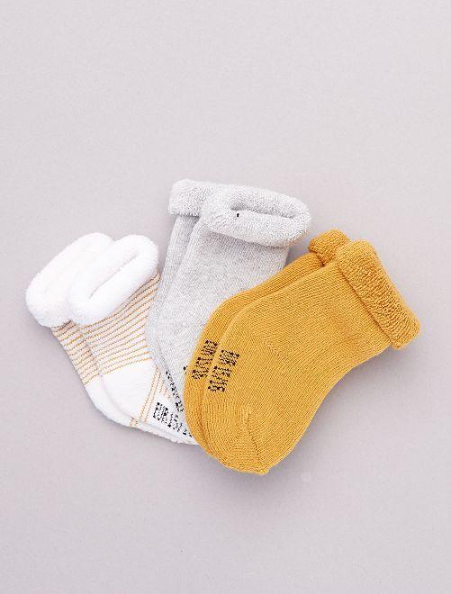 Set di 3 paia di calzini per neonato                                                                 ARANCIONE
