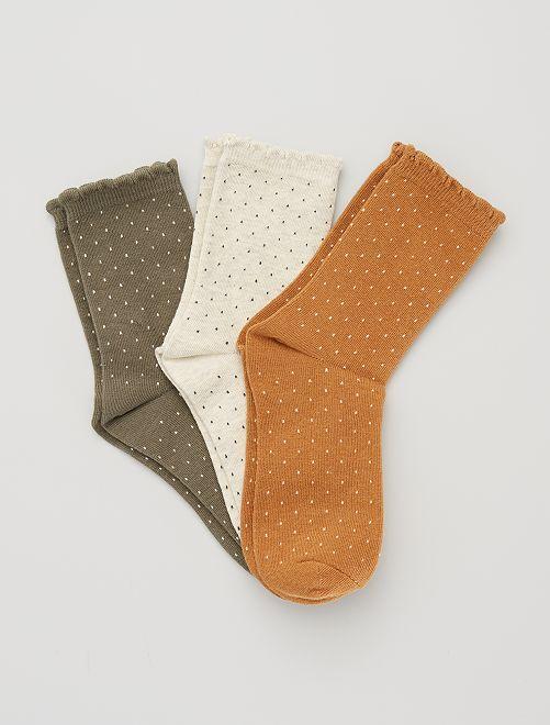 Set di 3 paia di calzini plumetis                                                                                         cammello