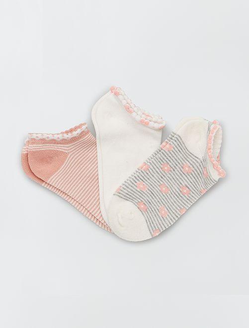 Set di 3 paia di calzini                                         rosa/bianco