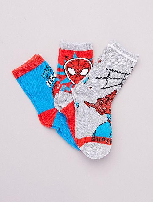 Set di 3 paia di calzini 'Spider-Man' 'Marvel'                                         ROSSO