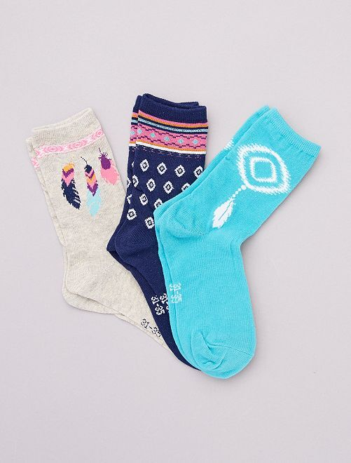 Set di 3 paia di calzini stampati -                                         BEIGE