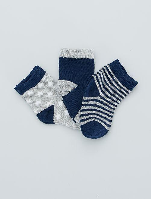 Set di 3 paia di calzini stampati                                         BLU