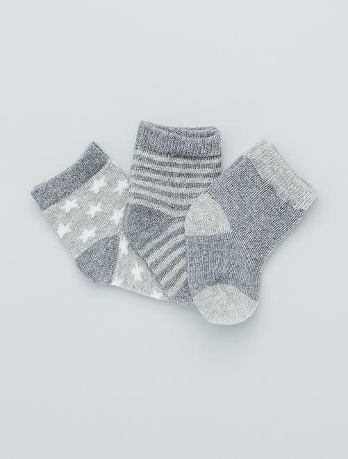 Set di 3 paia di calzini stampati                                         grigio