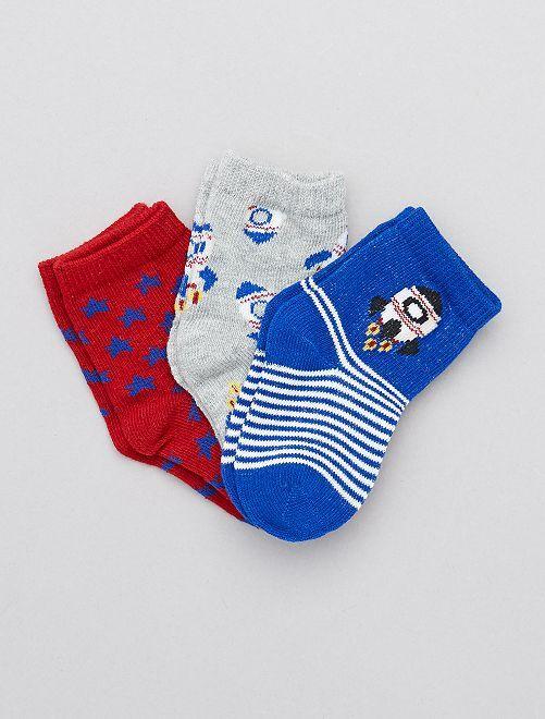 Set di 3 paia di calzini tema 'spazio'                     grigio rosso