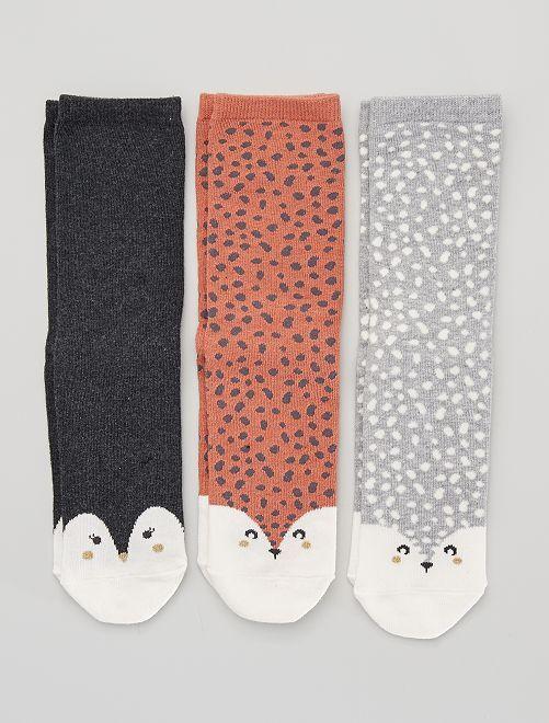 Set di 3 paia di calzini 'volpe'                                                                                         ROSSO