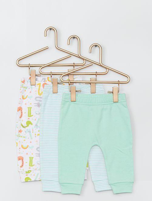 Set di 3 pantaloni -                             verde/bianco