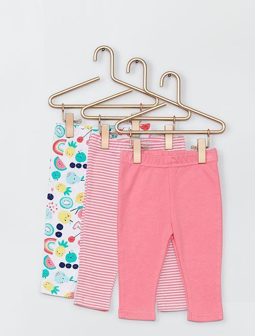 Set di 3 pantaloni                             rosa/bianco