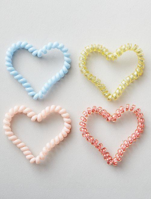 Set di 4 elastici intrecciati a forma di cuore                             multicolore