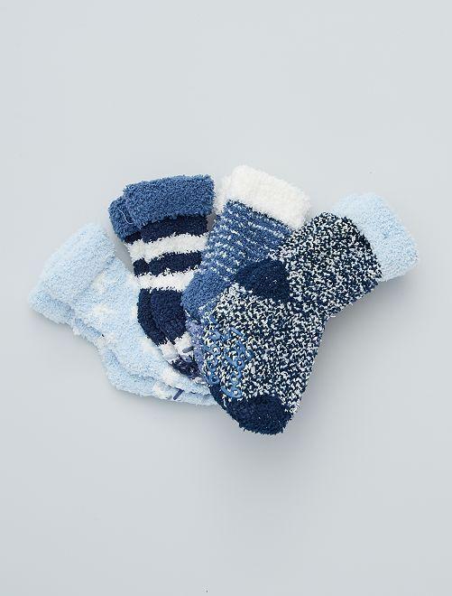 Set di 4 paia di calzini antiscivolo                             blu/bianco