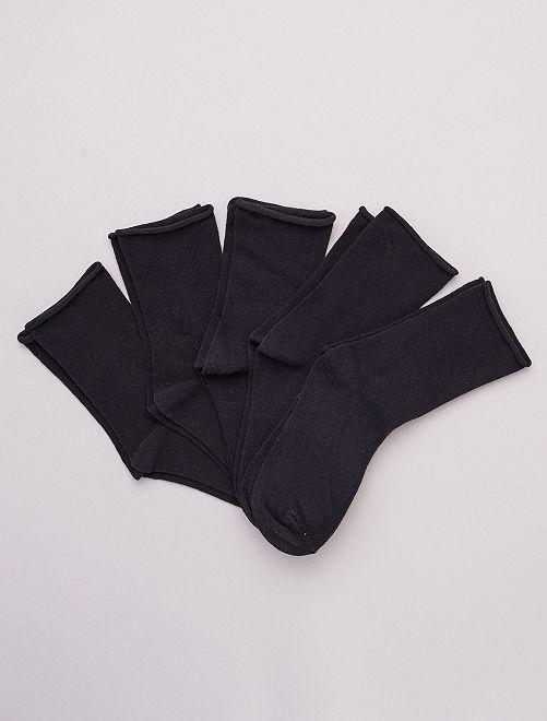 Set di 5 paia di calzini a tinta unita in cotone bio                     nero