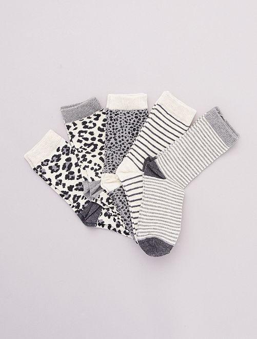 Set di 5 paia di calzini 'animali'                                         grigio