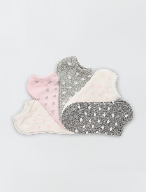 Set di 5 paia di calzini                                         grigio rosa