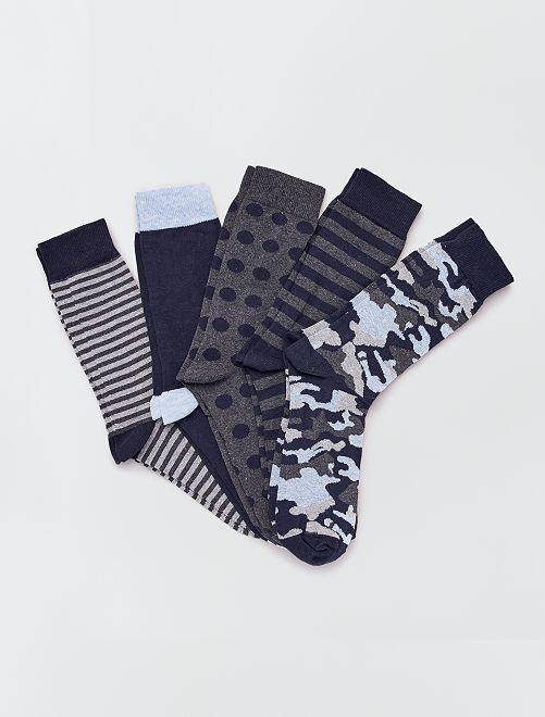 Set di 5 paia di calzini mimetici                                         blu navy