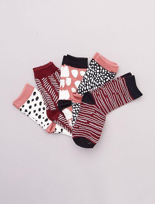 Set di 5 paia di calzini                                         ROSSO