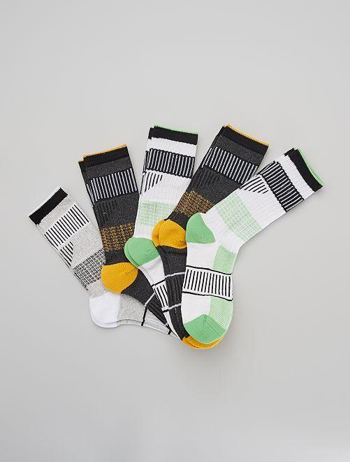 Set di 5 paia di calzini sportivi                                         GIALLO
