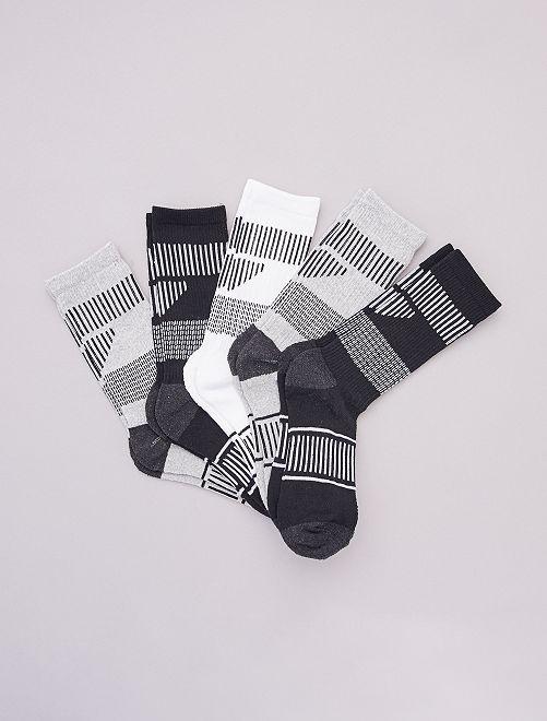 Set di 5 paia di calzini sportivi                                         NERO