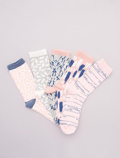 Set di 5 paia di calzini stampati                                         rosa/blu