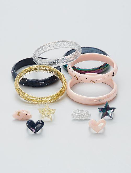 Set di 6 bracciali + anelli                             multicolore