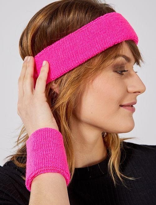 Set fascia e polsini spugna                                                                 rosa