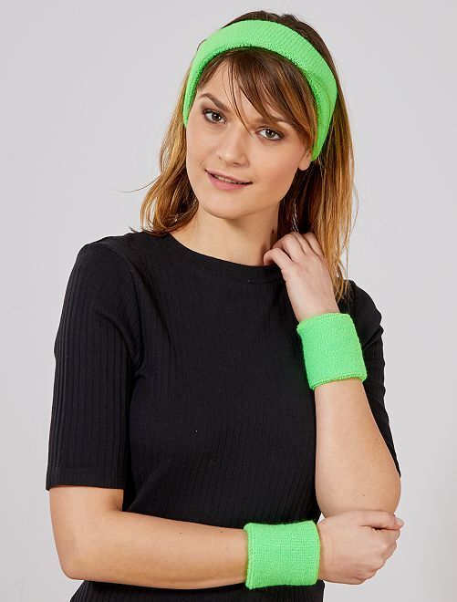 Set fascia e polsini spugna                                                                 verde