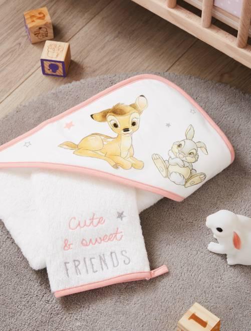 Set mantella da bagno e guanto 'Bambi' 'Disney'                             bianco neve Neonata