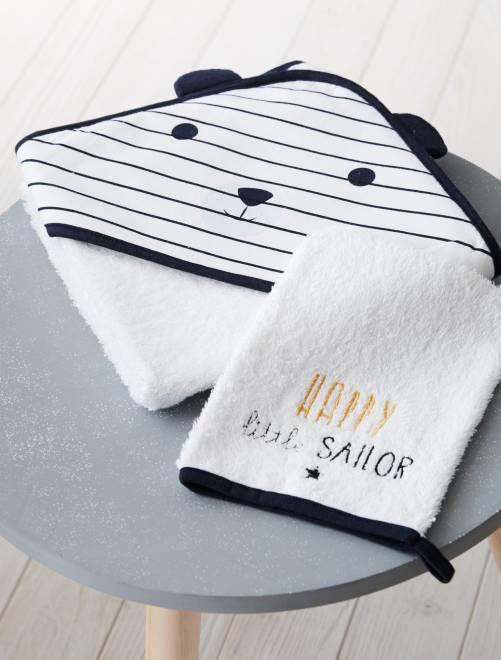 Set mantella da bagno e guanto coordinato 'Panda'                             bianco Neonato