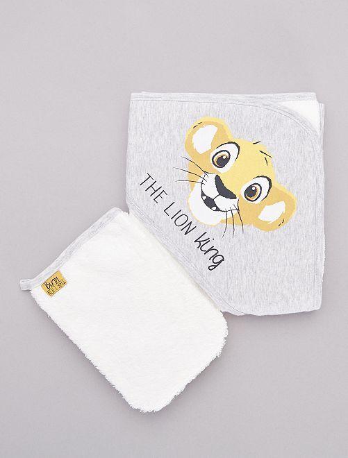 Set mantella da bagno e guanto 'Simba'                             GRIGIO