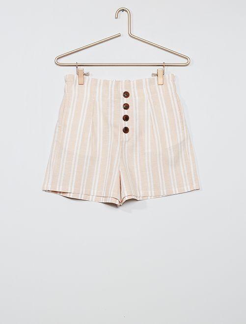 Shorts a righe con bottoni                                                     BIANCO