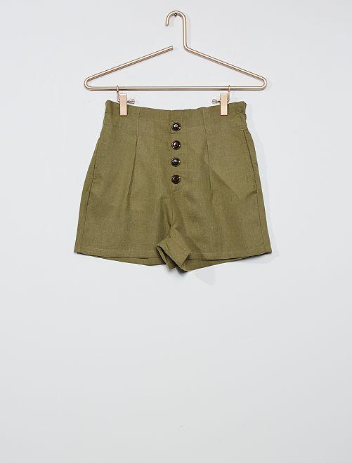 Shorts a righe con bottoni                                                     verde licheno