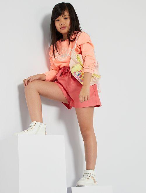 Shorts a vita alta arricciata                                         rosa
