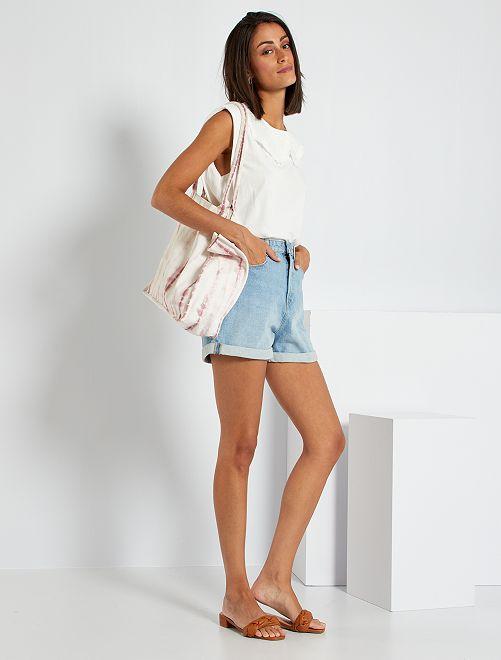 Shorts a vita alta in jeans                                                                 BLU