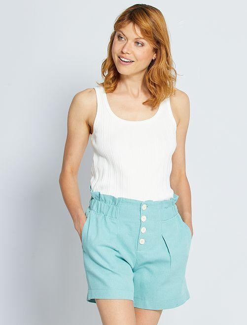 Shorts a vita alta in lino e cotone eco-sostenibili                             grigio verde