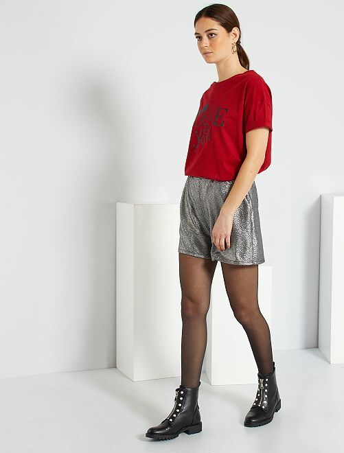 Shorts argentati in lurex                                         argento