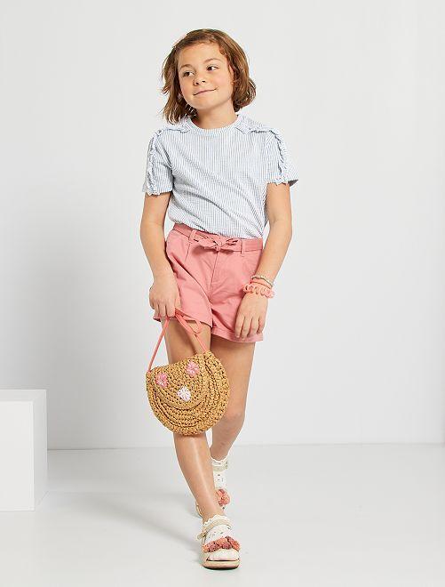 Shorts con cintura da annodare                                                                                                                 rosa
