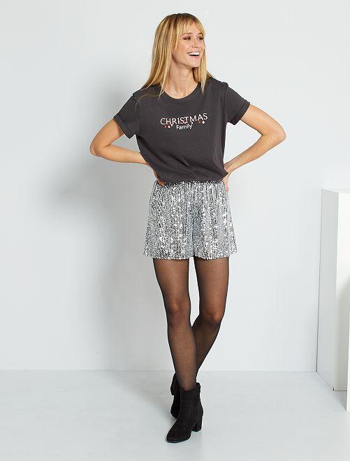 Shorts con lustrini                                         NERO