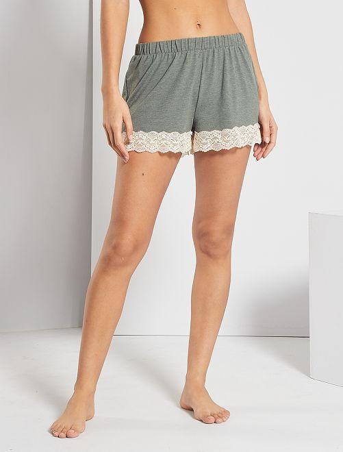 Shorts con orli in pizzo                                                     KAKI