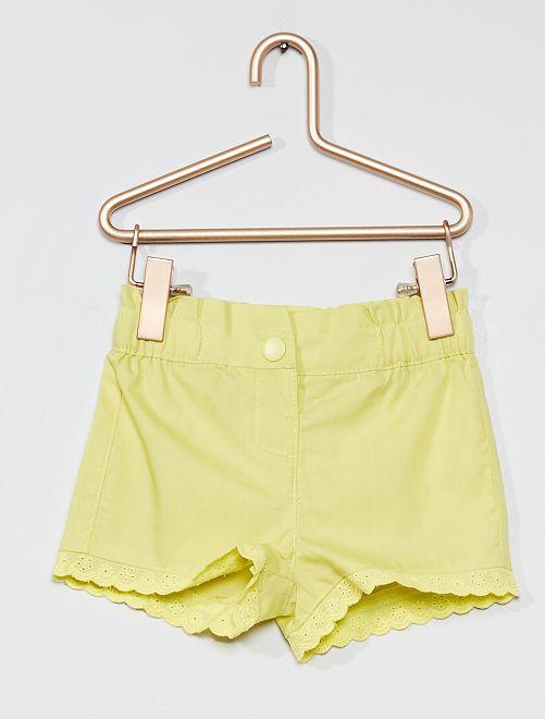 Shorts con ricamo punto inglese                             GIALLO