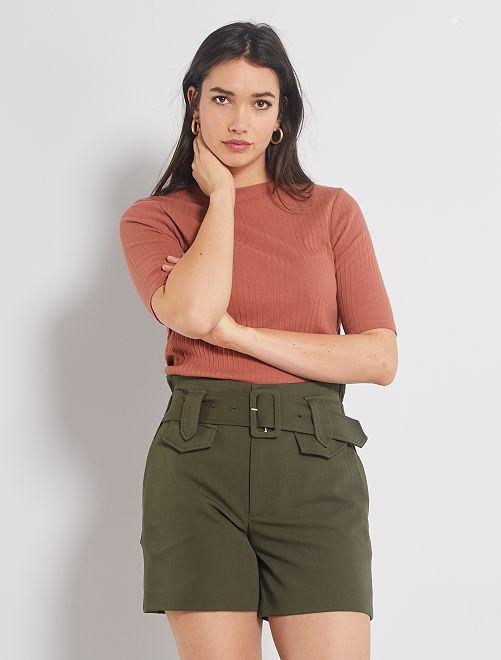 Shorts con vita alta con cintura                                                                                         KAKI
