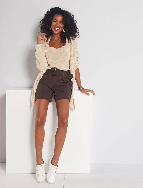 Shorts con vita alta con cintura                                                                                         marrone caffé