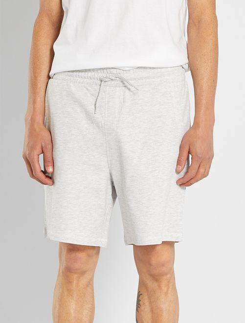 Shorts da notte in tessuto felpato leggero                             GRIGIO